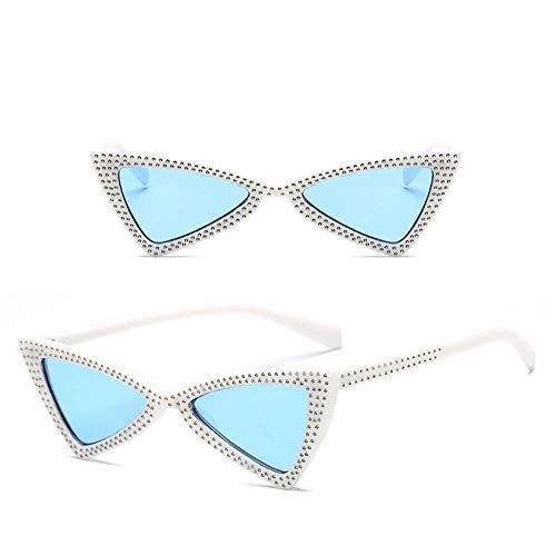 Occhiali da Sole Sunglasses Occhiali da Sole A Triangolo Moda Donna Crystal Ocean Lens Occhiali Vintage Classici OutdoorUv400 Whiteblue