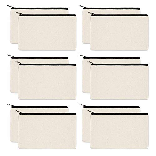 QAH 12pcs Canvas Makeup Cosmetic Bag, DIY Blank Cosmetic Bag with Zipper, Multi-Purpose Makeup Pouches for Pencil Case, Party Gift Bags, Travel