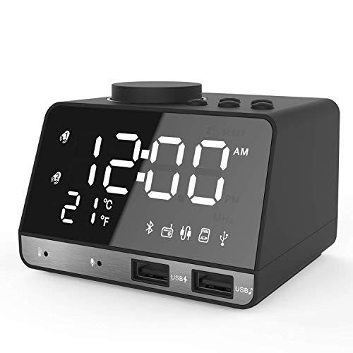 ZED- Bluetooth Radiowecker Tisch Funk Uhr mit Bluetooth 4.2/Aux/TF-Karte/U-Disk Spielen,FM Radio,Einstellbare Helligkeit und Dual USB für iOS/Android Telefon und Tablets
