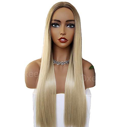 Missyvan Blonde no Lace parrucca, capelli sintetici lunghi lisci, seta top realistico parrucca ombre 2tonalità di ricambio per le donne