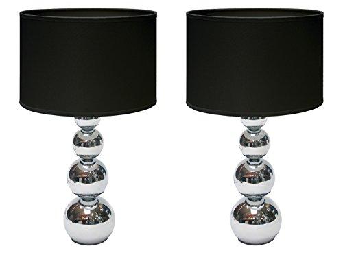 Moderne tafellamp met touch-functie dimbaar in set van 2 - stoffen kap zwart