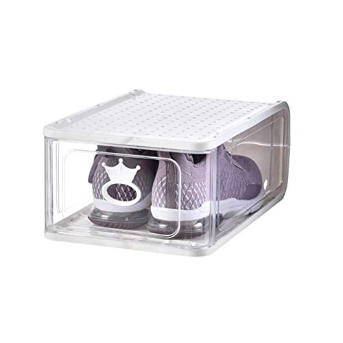 KJWXSGMM 1Pack Shoe Boxes Clear Plastic Stackable, Storage Boxes,Shoe Organizer with Lids, Front Opening Shoe Holder Containers, Shoe Organizer Space Saving,White