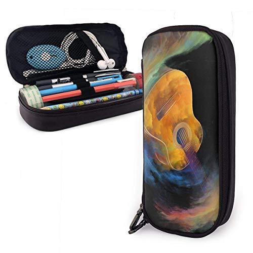 Gitaar en Abstract Kleurrijke Verf Lederen Potlood Case Rits Pen Bag Box Houder Studenten Draagbare Reistas
