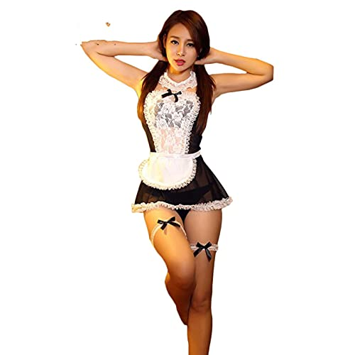 Yujun New Bow Lace Lingerie Women French Maid Cosplay Sexy Lingerie Hot Costumi Trasparenti Costumi erotici Adorabili da Cameriera