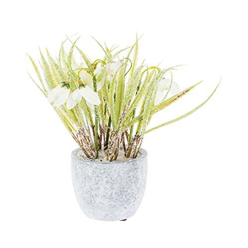 Homescapes winterliche Kunstpflanze Schneeglöckchen in Topf, Künstliche Weihnachtsdeko, 20cm hoch