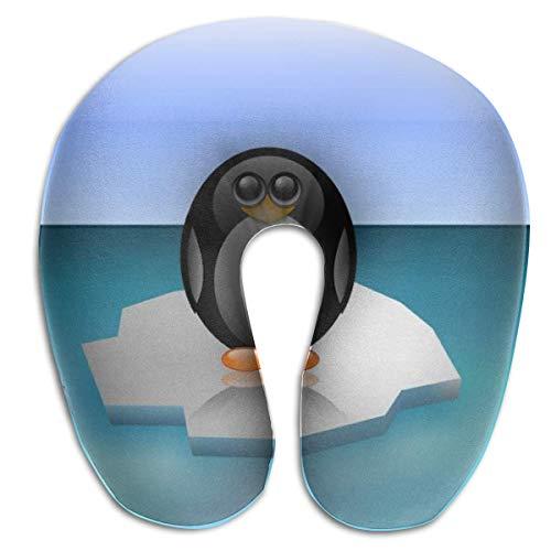 tyui7 Pingüino del Polo Norte Iceberg Almohada de Dibujos Animados en Forma de U Almohada de Cuello de Espuma de Memoria para Viajar y aliviar el Dolor de Cuello Almohadas cómodas de Cuello uterino