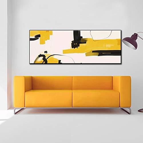 Große Größe Gelb Abstrakte Leinwand Kunst Gemälde Handgemaltes Ölgemälde Schönes Zuhause Wohnzimmer Hintergrund Wanddekor Malerei,Noframeb,40x120cm