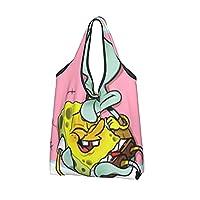 スポンジ ボブ Spongebob Squarepants 人気おしゃれ 再利用可能な食料品バッグ 洗濯可能 大容量 耐久性 丈夫 ショッピングバッグ 折りたたみ式 ショッピングバッグ防水 洗える ショッピング用 多機能 環境にやさしいショッピングバッグ