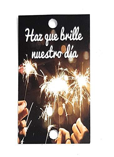 Tarjetas para bengalas, Haz que brille nuestro día, para tus invitados de boda (texto en español)