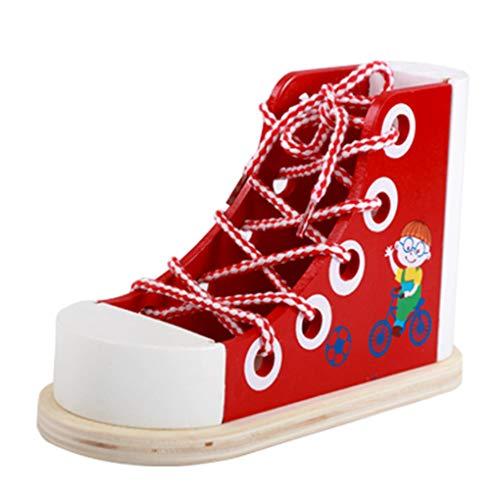 rongweiwang Multifunktionale Kinder Kinder Early Learning Educational Holzschuhe Spitze Spielzeug Krawatte Binden Spielzeug-Telefon-Halter