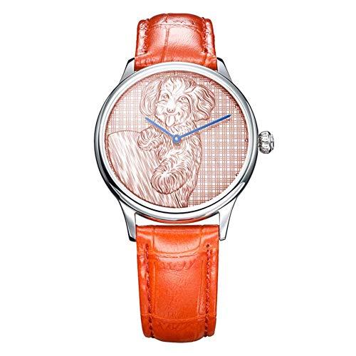 JAY-LONG Uhren für Frauen 999 Fine Silver Emboss Carving Eine lebendige und schöne Teddy Schweiz Quarzwerk Analoganzeige Quarzuhr,C
