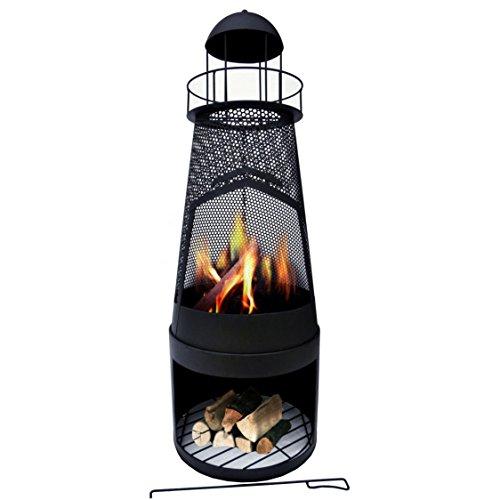 Gartenkamin Leuchtturm Stahlblech 122x45x45cm Feuerstelle schwarz Terassenkamin