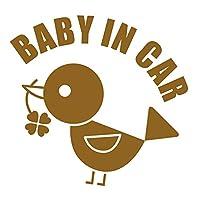 imoninn BABY in car ステッカー 【シンプル版】 No.02 コトリさん (ゴールドメタリック)