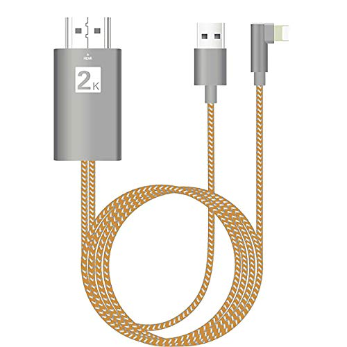 Compatible with iPhone to HDMI Adapter, HDMI Cable for iPad iPhone,1080P HDTV Digital AV Adapter, HDMI Connector Cord for iPhone 11,XS,XR,X,8,7,6,iPad Air, Mini, Pro, iPod Touch to TV Projector