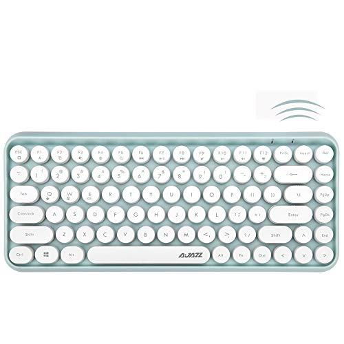 FELICON Bluetooth Tastatur 2,4 GHz Kabellose, Kompakte, Leichte Tastatur im Retro-Stil, Matte Textur, 84 Tasten, Kompatibel mit Android und Anderen Geräten,Geeignet für Heim- und Bürotastaturen(Grün)