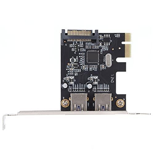 Tarjeta de expansión PCI-E, adaptador de ranura para computadora de escritorio de dos puertos de transmisión de alta velocidad de 5 Gbps USB3.0, tarjeta vertical PCI-E con velocidad de transmisión est