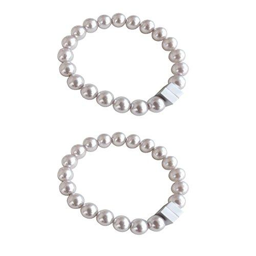 Welldoit A Pair Pearl Magnetic Curtain Tiebacks Holdbacks Tie Connect Easily (Silver Gray)