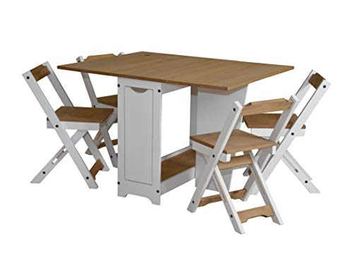 Ellingham Butterfly Dining Set with 4 Folding Chairs (Pine & White)