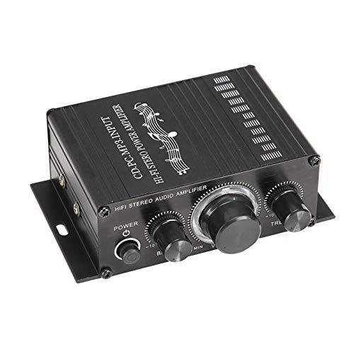 DAUERHAFT Receptor de música estéreo de Alta fidelidad Amplificador de Potencia de Alta fidelidad Calidad Estable, para computadoras de TV, para teléfonos móviles