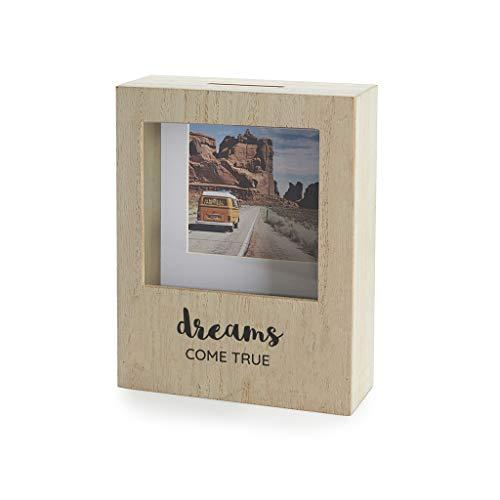 Balvi Hucha Dreams con Soporte para Foto 8,5x8,5 cm Ideal para Ahorrar Dinero para Tus proyectos Madera DM