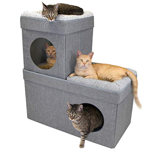 Kitty City Large Stackable Tan Cat Condo, Cat Cube, Cat House, Pop Up Bed, Cat Ottoman