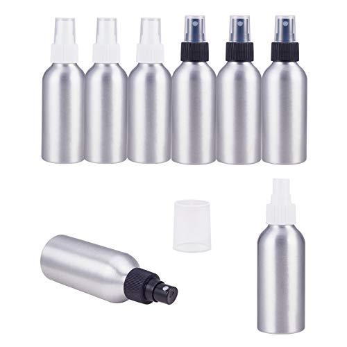 PandaHall 8 Pack 2 colores de 4 onzas (120 ml) Botellas de aluminio para pulverización de niebla fina Botellas de atomizador de metal de platino para viajes, almacenamiento