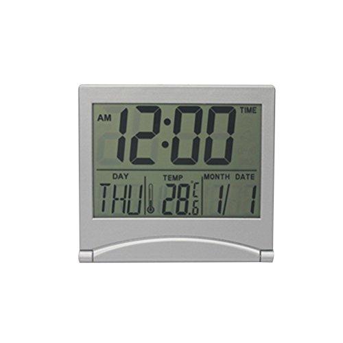 winomo Digital de espejo de despertador de creativos Temperatura LCD de faltende pared de escritorio de ultradünne Viaje de calendario de reloj