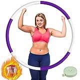 Jayol Witacles Fitness - Aro de hula hoop para adultos, acero inoxidable, para pérdida de peso con espuma, ajustable, 1,2 kg, color blanco