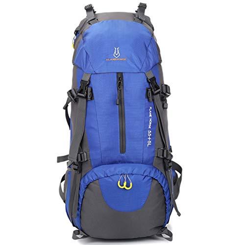Sac à dos GITVIENAR - Pour homme et femme - 60 l - Sac à dos de randonnée - Imperméable - Sac à dos de voyage multifonction - Sac de voyage pour l'escalade, le camping, les équitations, bleu