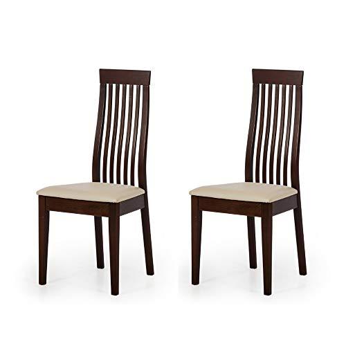 Amazon Brand Juego de sillas Helena, 46x47,4x102,7cm, haya barnizada en tono nogal, color beige