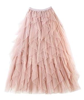 Femiserah Women s Long Rainbow A Line Tulle Tutu Skirts Tiered Skirt Petticoat  Tulle Pink