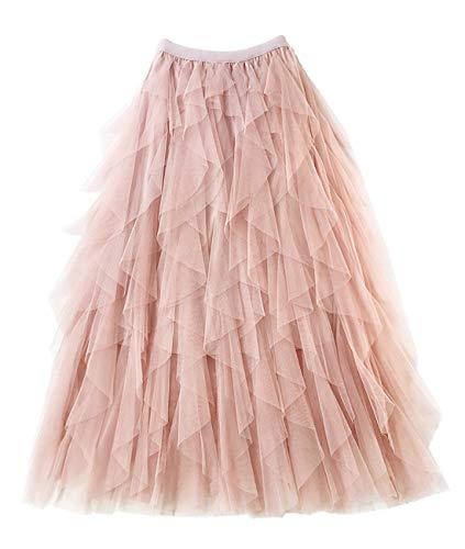 Femiserah Women's Long Rainbow A Line Tulle Tutu Skirts Tiered Skirt Petticoat (Tulle Pink)