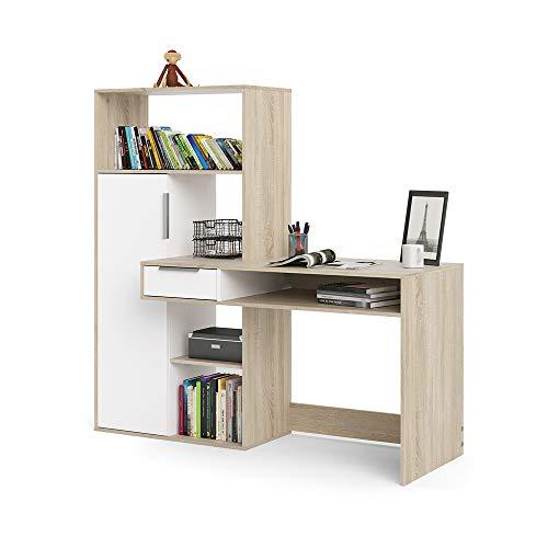 Dmora Scrivania multifuzione con libreria, cassetto e Anta, Colore Bianco e Rovere, cm 162 x 155 x 60