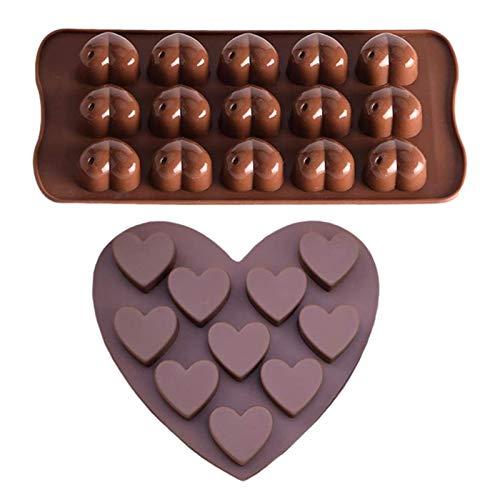 Paquete de 2 moldes para galletas con forma de corazón de diamante y forma de amor, silicona para mousse de 8.07 pulgadas, molde para hornear galletas de postre de chocolate no pegajoso para cocina
