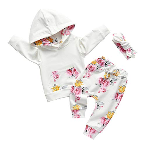 Baby Girl Clothes Long Sleeve Floral Hoodie Sweatshirt Pants with Pocket Headband Outfit Sets (12-18 Months) White