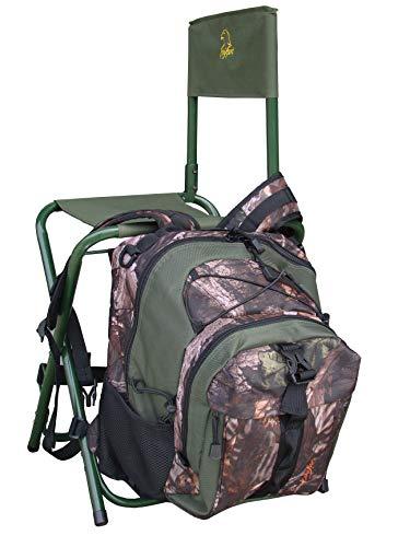 """BENISPORT - Silla y mochila con respaldo """"torcaz"""" - Silla para caza y outdoor - Mochila con silla de color camuflaje de hojas"""