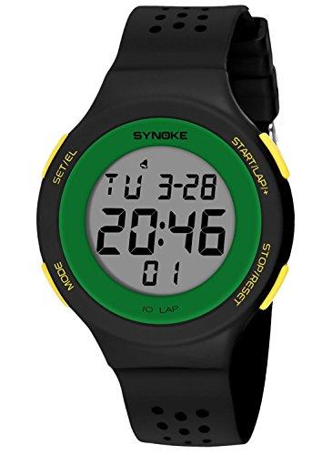 SYNOKE - Reloj Digital Deportivo Ultra-Delgado Hombre Mujer Adolescentes Estudiantes con LED Impermeable Reloj del Pulsera Porosa Transpirable Multifunción Luminoso con Alarma Date Colorido - Verde
