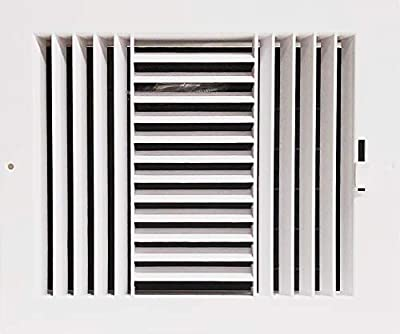 "Three-Way Plastic Side Wall/Ceiling Register in White 10""w X 8""h for Duct Opening (Outside Dimension is 12""w X 10""h)"