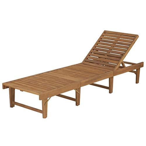 Festnight Wooden Sunbed Sunlounger Folding Garden Outdoor Sun Lounger Sunbed with Adjustable Backrest, 200x61x30/86 cm Solid Acacia Wood