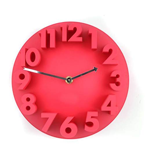 Qinmao Reloj De Moda Digital Estéreo Rojo De 9 Pulgadas Reloj De Sala De Estar Reloj De Arte Silencioso Reloj De Creatividad Silencioso Fácil De Leer Sala De Estar/Dormitorio/Oficina/Restaurante