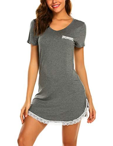 Ekouaer Sleepwear Womens Sexy Nightgown Short Sleeve Sleep Nightdress V Neck Sleep Tee Nightshirt, Grey 3XL