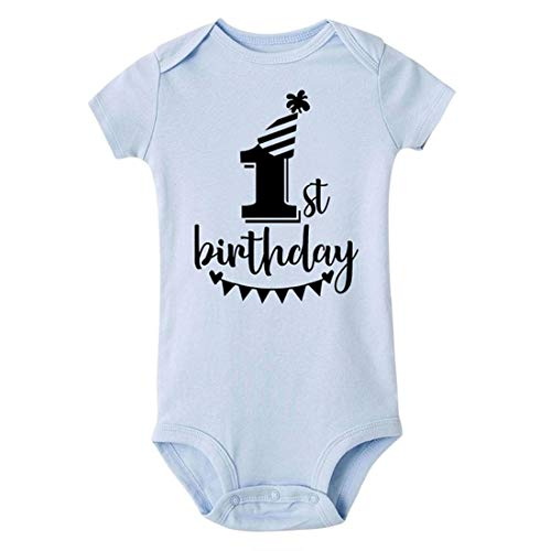 Mornyray T-Shirts d'été en Coton pour bébé 1er Anniversaire (Color : SRPLB, Size : 9M)