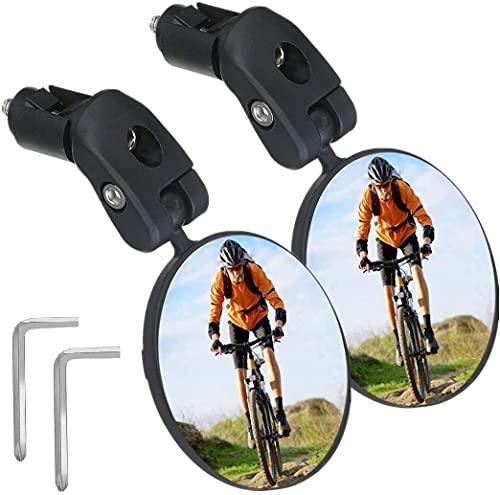 SGODDE 2 Pièces miroir de Vélo,Rétroviseur Guidon Vélo de 17.4 à 22 mm,Miroir Convexe Vélo 360°Réglable pour VTT,Vélo de Montagne,Vélo de Course,Vélo Électrique,Mobylette