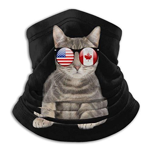 PQU Awesome Windproof Face Warmers,American Canadian Flat Cat Sonnenbrille Sport Face Shield, Modisches 12-In-1-Bandana Für Das Motorradfischen,26x30cm