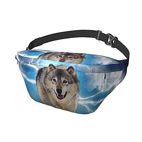 Lightning Running Wolf Sling Bag Fanny Pack Crossbody Mochila de hombro para hombres y mujeres, ligera, informal, para el pecho, para viajes, gimnasio, deporte, senderismo, ciclismo