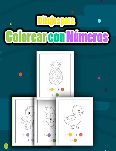 Dibujos Para Colorear con Números: Colorea por números Libro de colorear animales , pájaros, avion de papel , frutas y patrones para niños a partir de 4 años
