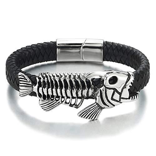 COOLSTEELANDBEYOND Rock Punk Herren Damen Edelstahl Vintage Fisch Skelett Armband Schwarz Geflochtene Lederarmband Schweißband