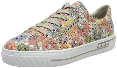 Rieker Frühjahr/Sommer L8837, Sneakers Basses Femme, Multicolore (Ginger-Multi/Nude 90), 36 EU