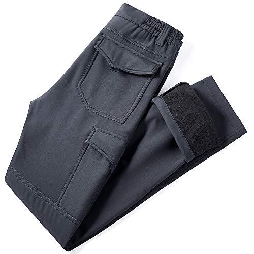 YAWHO Herren Wanderhose Outdoorhose Trekkinghose Softshellhose Funktionshose Cargohose/Schnell Trockend Wasserdicht Winddicht (Grey 108, L)
