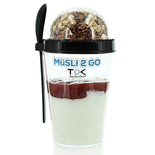 TOK® Müslibecher to go/Joghurtbecher to go mit Löffel/komplett dicht, BPA frei, wiederverwendbar/ 450ml Becher & 150ml Deckel/Reise-Müsli-Becher für den gesunden Snack unterwegs (Schwarz)